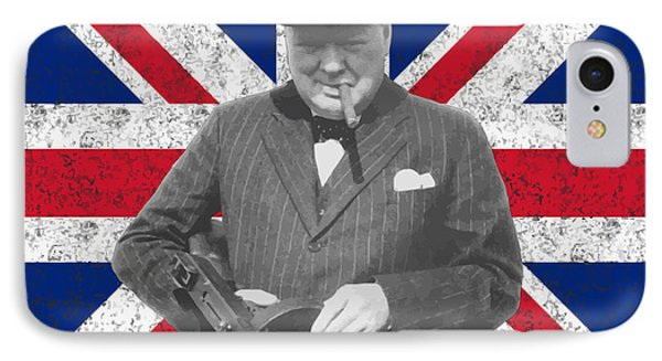 England iPhone 8 Case - Winston Churchill And His Flag by War Is Hell Store