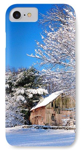Winter Barn Scene-warren Ct IPhone Case