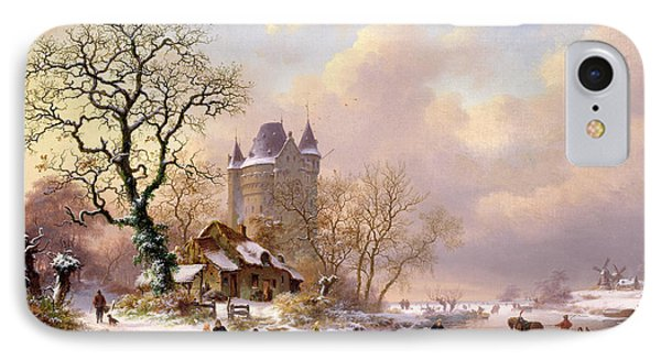 Castle iPhone 8 Case - Winter Landscape With Castle by Frederick Marianus Kruseman
