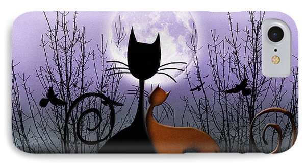 Winter Moon Cats In Love IPhone Case