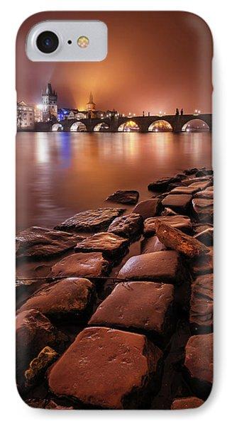 Winter Night Near Charles Bridge In Prague, Czech Republic IPhone Case