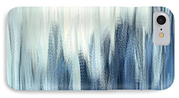 Winter Sorrows - Blue And White Abstract IPhone Case