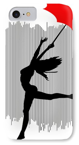Woman Dancing In The Rain With Red Umbrella IPhone Case
