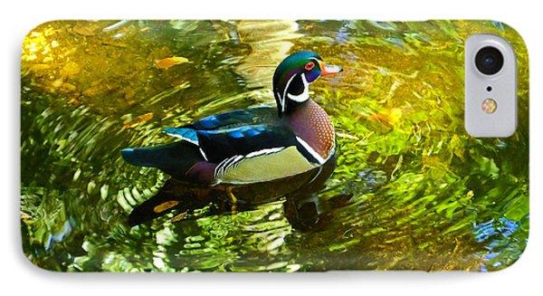 Wood Duck In Lights IPhone Case