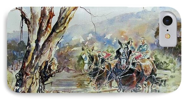 Working Clydesdale Pair, Australian Landscape. IPhone Case