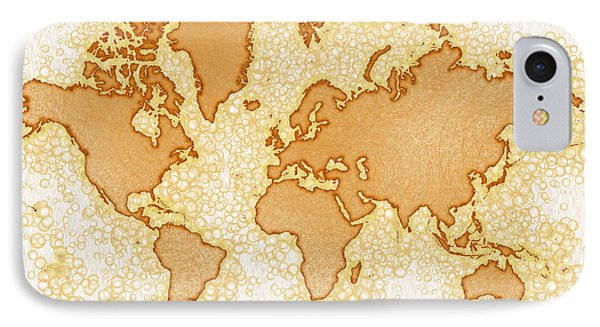 World Map Airy In Brown And White IPhone Case