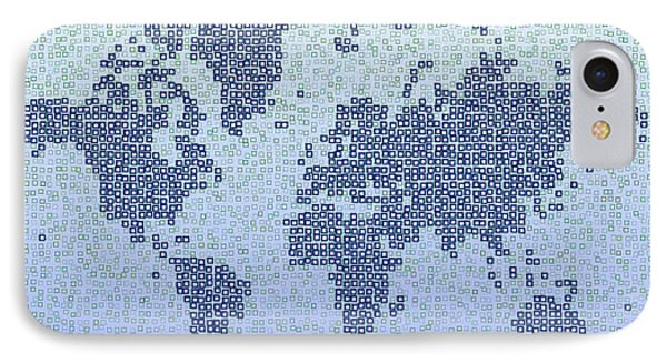 World Map Kotak In Blue IPhone Case