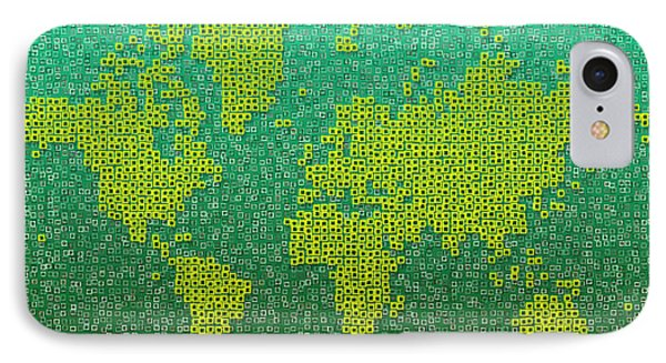 World Map Kotak In Green And Yellow IPhone Case