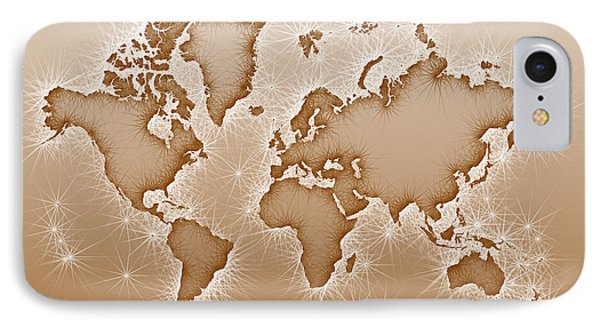 World Map Opala Square In Brown And White IPhone Case