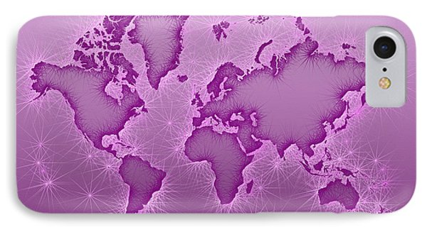 World Map Opala Square In Purple And Pink IPhone Case