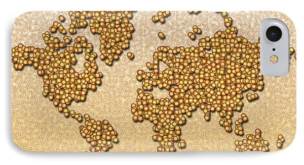 World Map Rolamento In Yellow And Brown IPhone Case