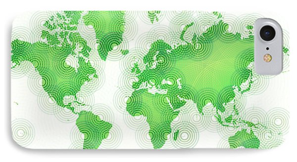 World Map Zona In Green And White IPhone Case