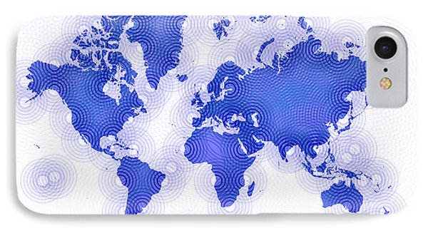 World Map Zona You Are Here In Blue And White IPhone Case