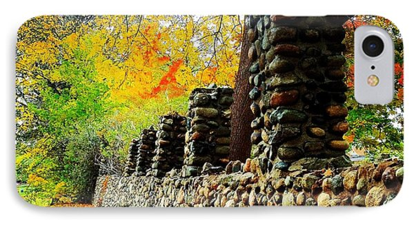 Wright Park Stone Wall In Fall IPhone Case