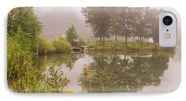 Misty Pond Bridge Reflection #5 IPhone Case