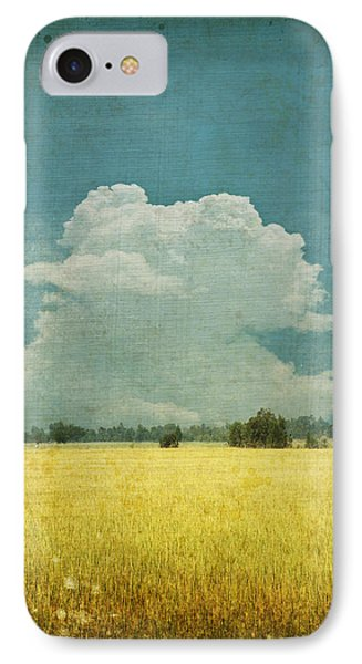 Nature iPhone 8 Case - Yellow Field On Old Grunge Paper by Setsiri Silapasuwanchai