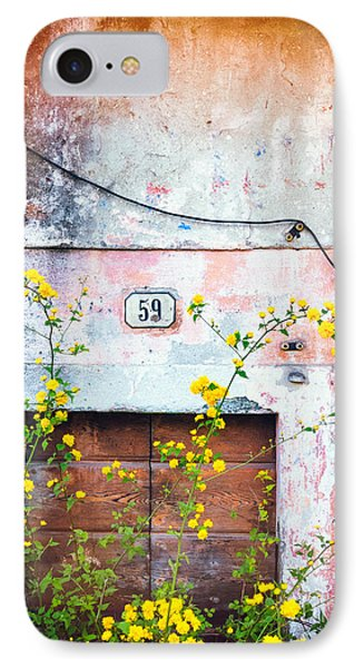 Yellow Flowers And Decayed Wall IPhone Case
