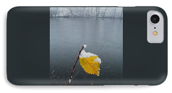 Yellow Riverside Leaf In Snowstorm    Indiana IPhone Case
