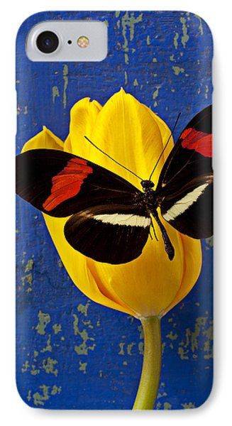 Tulip iPhone 8 Case - Yellow Tulip With Orange And Black Butterfly by Garry Gay