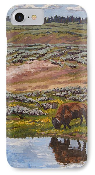 IPhone Case featuring the painting Yellowstone Reflections by Erin Fickert-Rowland