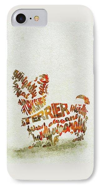 Yorkshire Terrier Watercolor Painting / Typographic Art IPhone Case