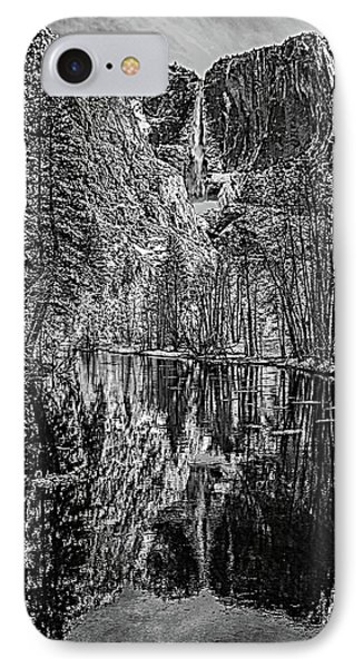 Yosemite Falls From The Swinging Bridge In Black And White IPhone Case