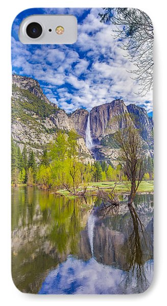 Yosemite Falls In Spring Reflection IPhone Case
