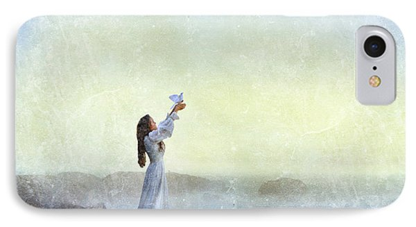 Young Lady Releasing A Dove By The Sea IPhone Case