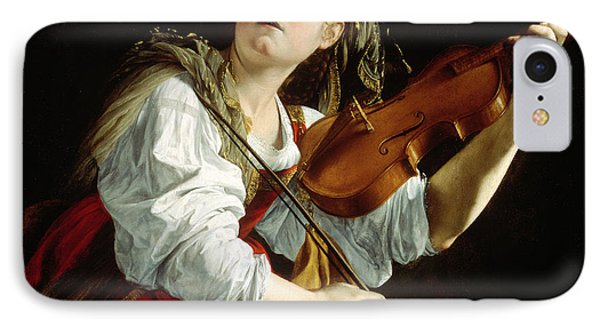 Music iPhone 8 Case - Young Woman With A Violin by Orazio Gentileschi