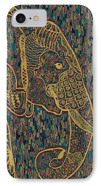 Zentangle Elephant-oil Gold IPhone Case
