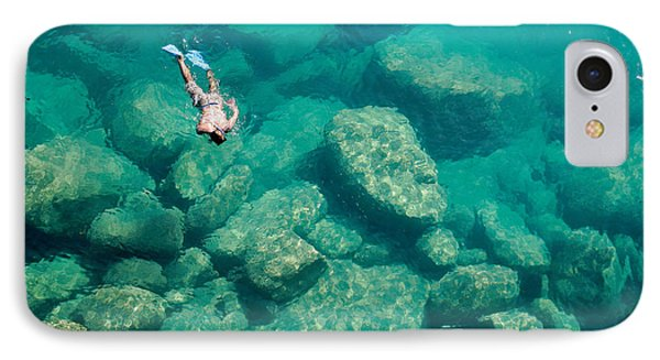 Africa iPhone 8 Case - A Snorkeler Explores The Scenic Rock by Saphotog