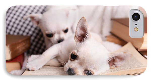 Small iPhone 8 Case - Adorable Chihuahua Dogs With Books On by Africa Studio