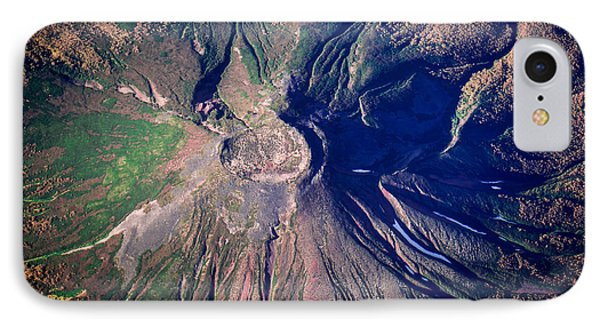 Beauty In Nature iPhone 8 Case - Aerial Shot One Of Volcanoes In by Makushin Alexey