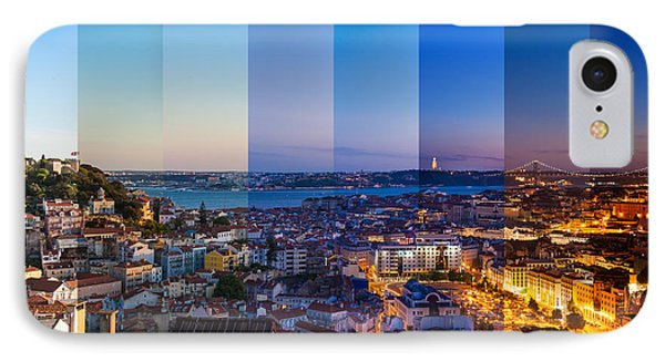Collage iPhone 8 Case - Aerial View Montage Of Lisbon Rooftop by Samuel Borges Photography