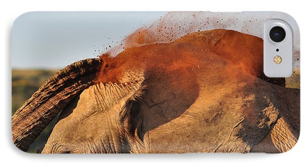 Africa iPhone 8 Case - African Elephant Throwing Dust Around by Michael Potter11