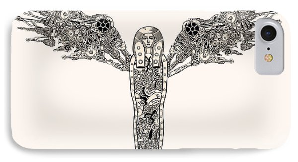 Egyptian iPhone 8 Case - Ancient Steampunk God With Wings by Ryger