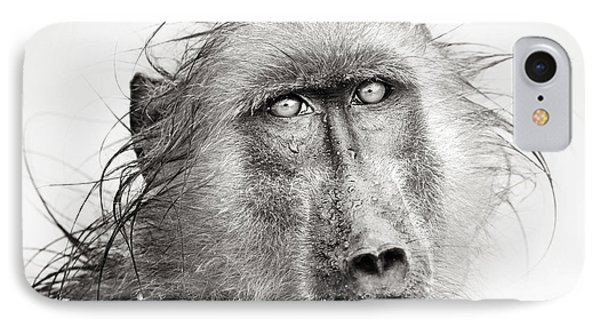 Africa iPhone 8 Case - Baboon In Rain Artistic Processing by Johan Swanepoel