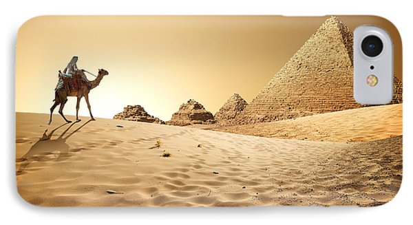 Egyptian iPhone 8 Case - Bedouin On Camel Near Pyramids In Desert by Givaga