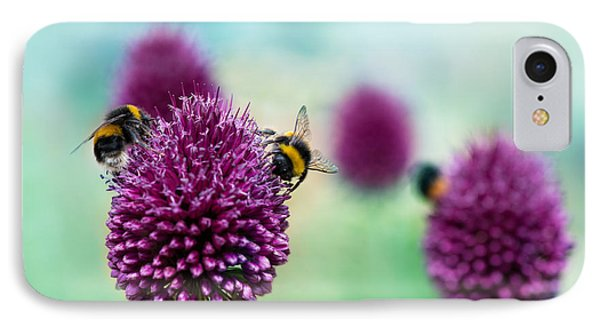 Beauty In Nature iPhone 8 Case - Bees On Allium Sphaerocephalon.  Allium by Onelia Pena