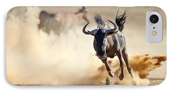 Africa iPhone 8 Case - Blue Wildebeest Running On Dusty Plains by Mari Swanepoel