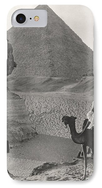 Egyptian iPhone 8 Case - Camel Ride At The Sphinx And Pyramids by Everett Collection