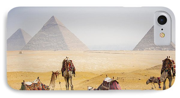 Africa iPhone 8 Case - Camels With Pyramid by Peach018