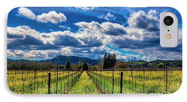 Mustard iPhone 8 Case - Clouds Over Sonoma Vineyards by Garry Gay