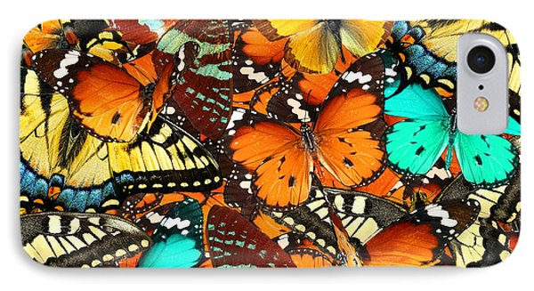 Collage iPhone 8 Case - Colorful Butterflies Background. Nature by Protasov An