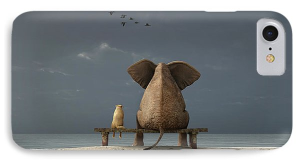 Small iPhone 8 Case - Elephant And Dog Sit On A Beach by Photobank Gallery