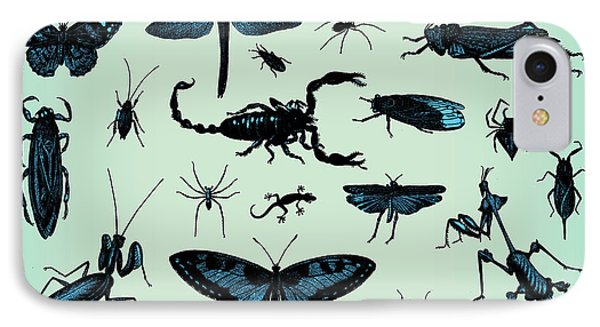 Small iPhone 8 Case - Engraving Vintage Insect Set From by Pio3
