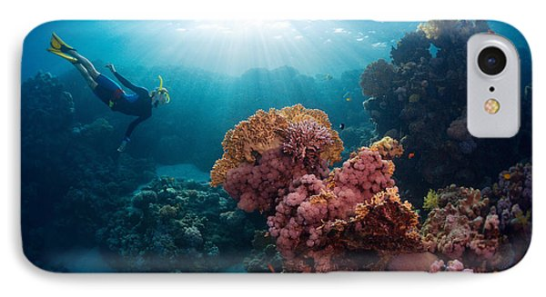Egyptian iPhone 8 Case - Free Diver Exploring Vivid Coral Reef by Dudarev Mikhail