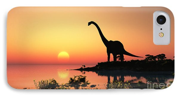 Small iPhone 8 Case - Giant Dinosaur In The Background Of The by Iurii