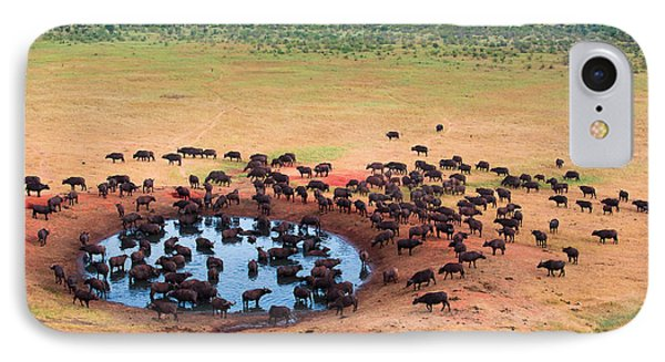 Africa iPhone 8 Case - Herd Of Buffaloes In Water Hole by Andrzej Kubik