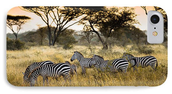 Africa iPhone 8 Case - Herd Of Zebras On The African Savannah by Andrzej Kubik